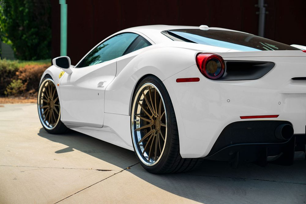 klassen klassenid wheels rims cs35s ferrari 488 gtb custom forged three piece matte bronze polished lip white
