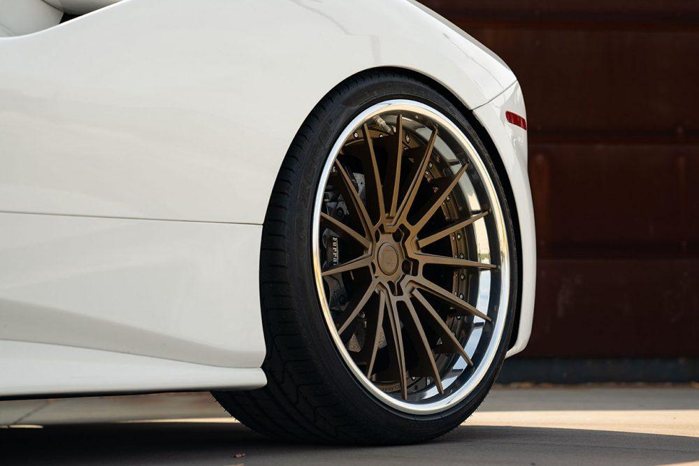klassen klassenid wheels rims cs35s ferrari 488 gtb custom forged three piece matte bronze polished lip white