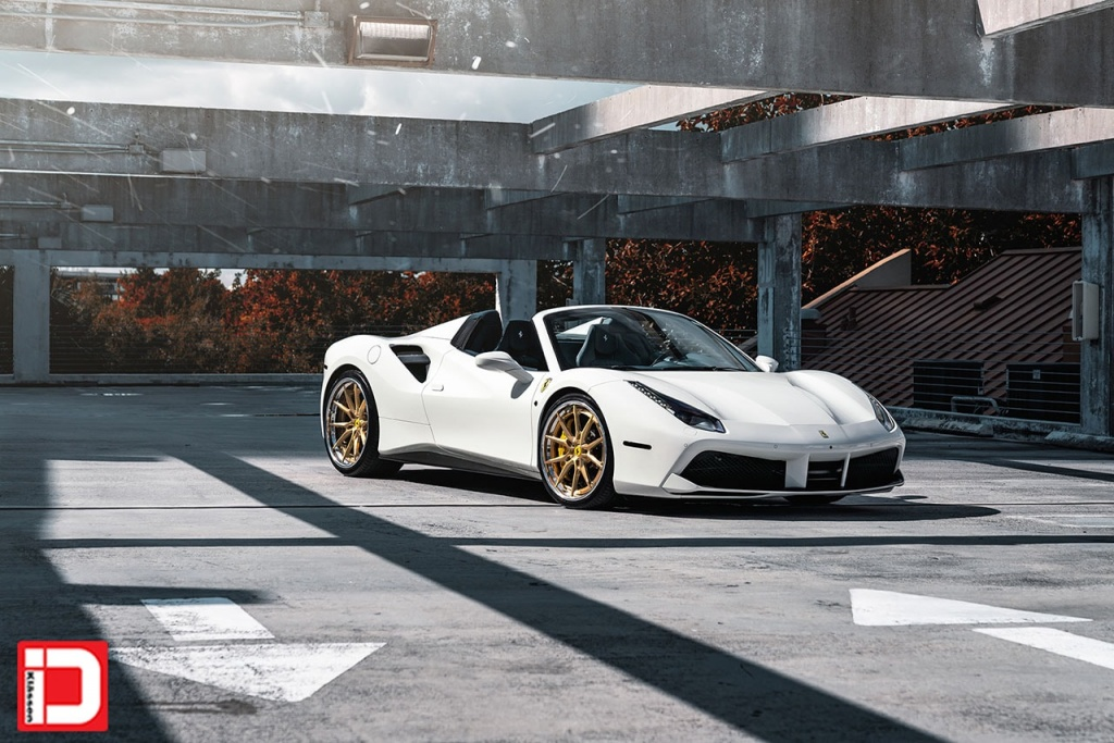 white ferrari 488 gtb spyder klassen klassenid wheels cs06s concave custom forged three piece brushed gold face polished lip rims supercar miami mccustoms