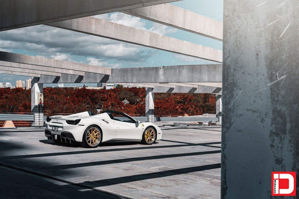 white ferrari 488 gtb spyder klassen klassenid wheels cs06s concave custom forged three piece brushed gold face polished lip rims supercar miami mccustoms