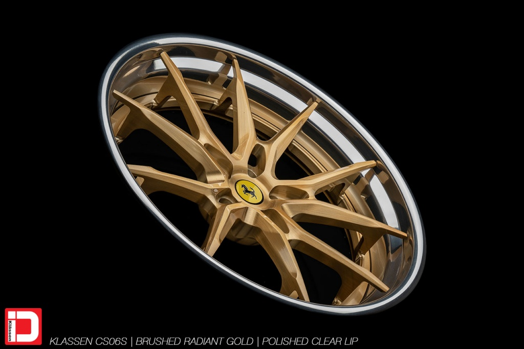 klassen klassenid wheels rims ferrari 488 custom forged concave brushed gold polished clear lip split spoke split 21in 21inch