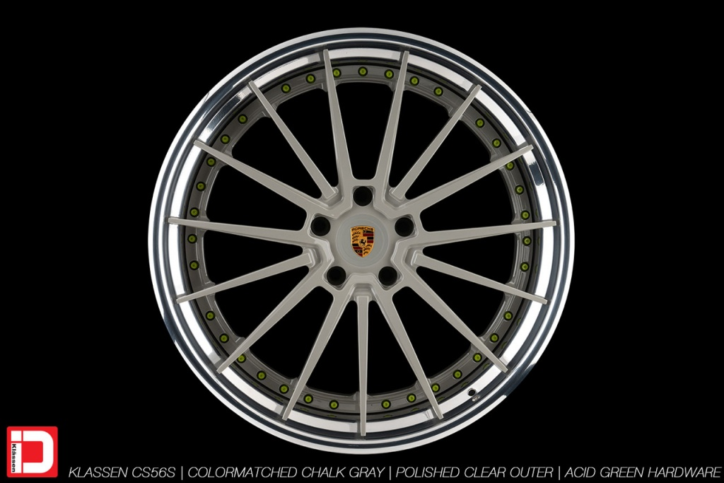 klassen klassenid wheels rims custom concave forged three piece 21inch 21in chalk gray polished lip acid green hardware porsche panamera 4s