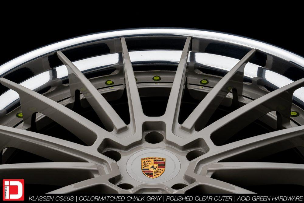 klassen klassenid wheels rims custom concave forged three piece 21inch 21in chalk gray polished lip acid green hardware porsche panamera 4s