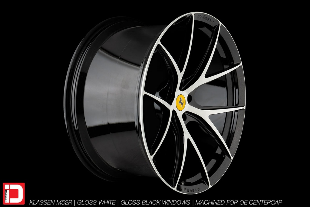 klassen klassenid wheels m52r 21in 21inch forged custom monoblock two tone ferrari white black gloss 488 gtb