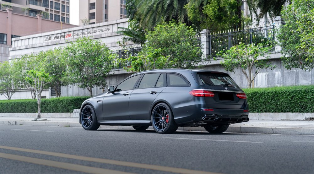 klassen klassenid wheels rims ms03 matte blue abyss mercedes benz e63 amg wagon estate custom concave forged monoblock