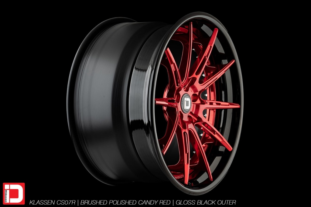 klassen klassenid wheels rims custom concave forged three piece lightening pockets brushed polished candy red gloss black lip