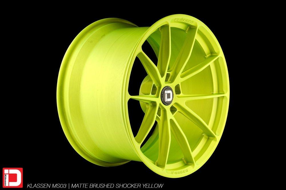 klassen klassenid wheels rims custom concave forged monoblock brushed matte shocker yellow lime track light performance