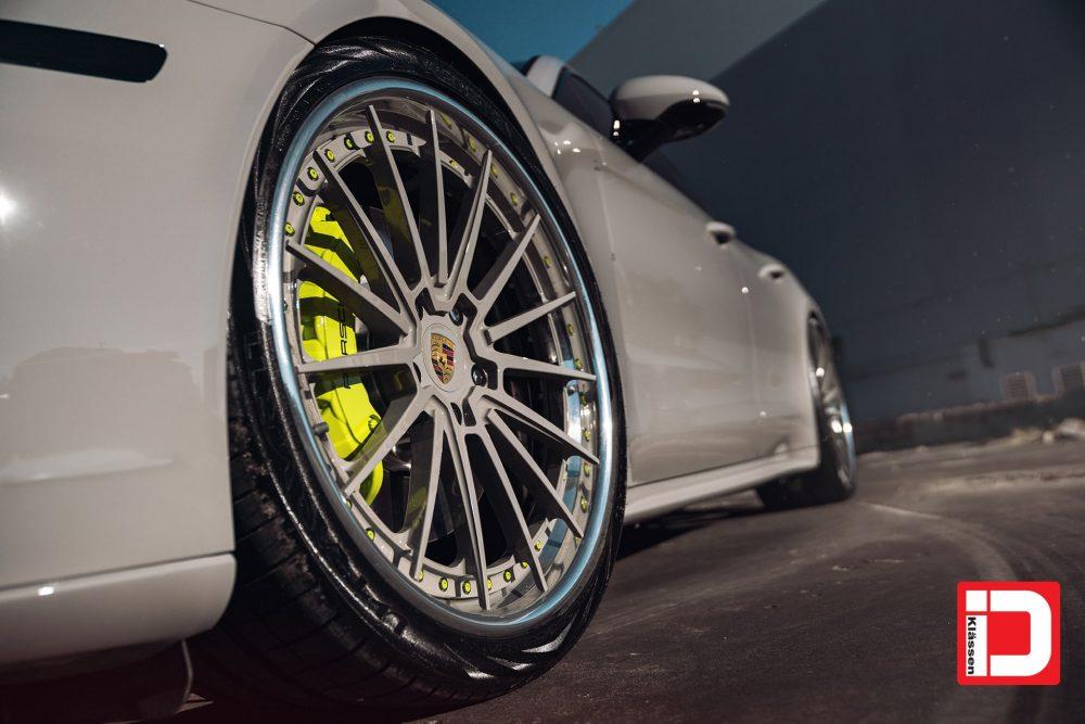klassen klassenid wheels rims cs35s porsche panamera s2 custom forged three piece chalk gray polished lip acid green hardware